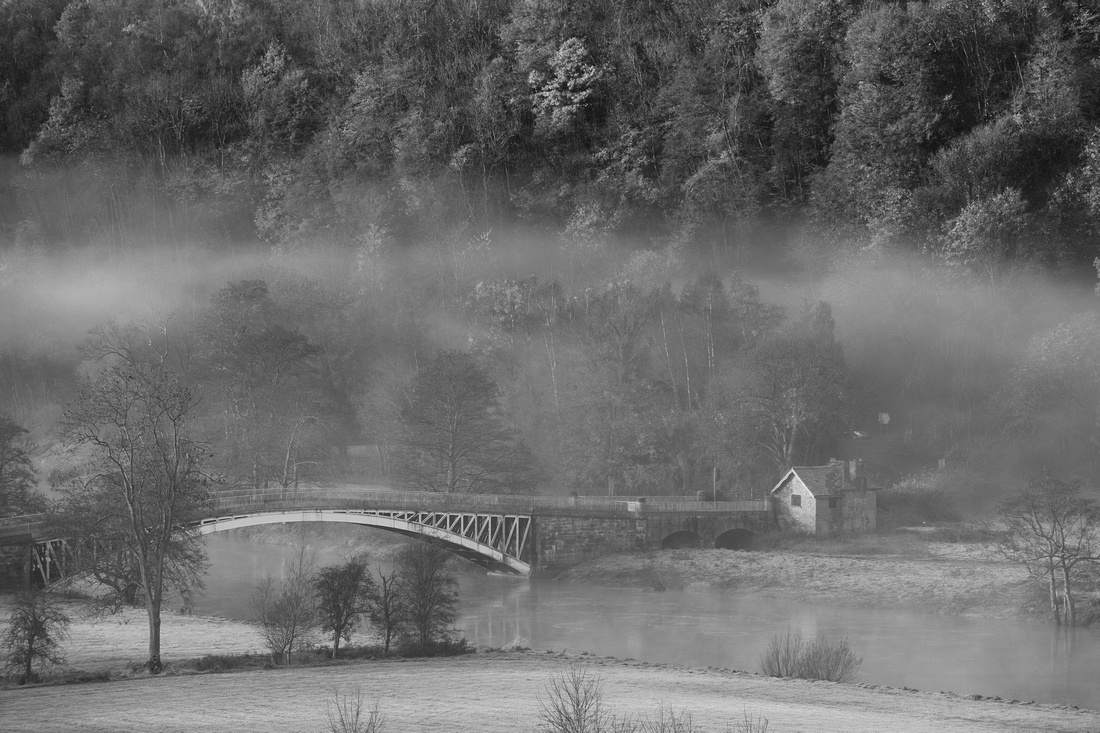River wye, flow, Wye Valley, bridge, Bigsweir, iron bridge, staycation, visit, DeanWye, Autumn, seasons, black and white, toll house, Wales, England, crossing, border, forest, trees,